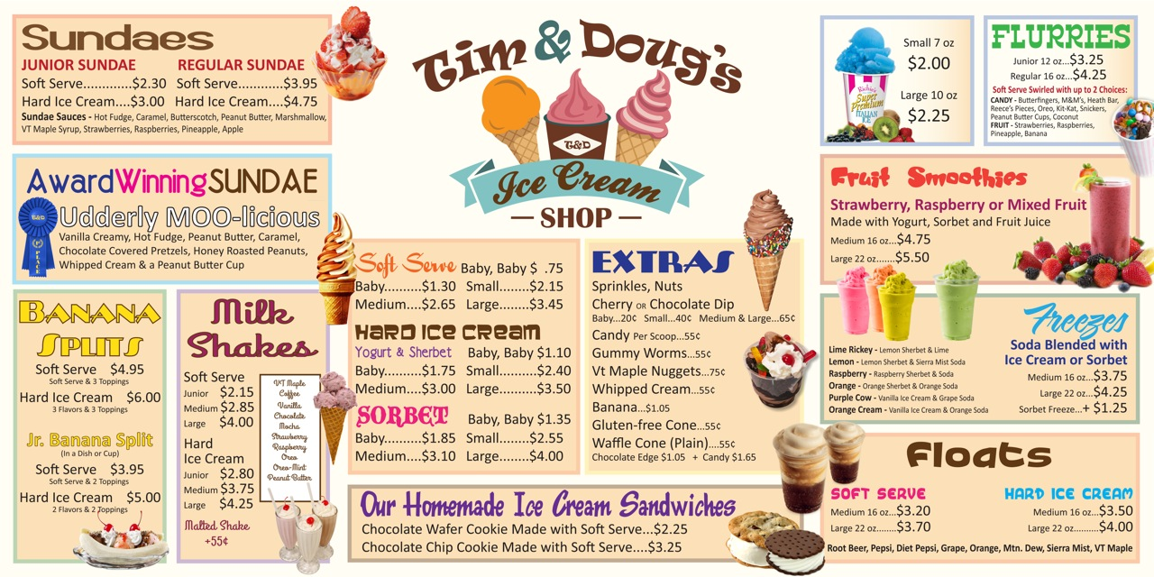 Tim & Doug's Menu